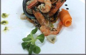 фотография Теплый салат из морепродуктов