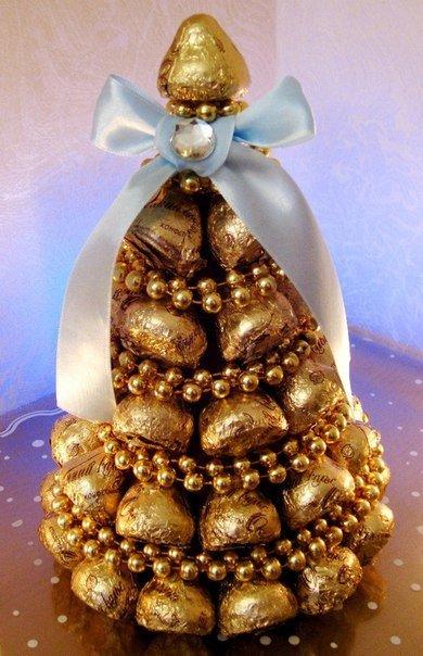 Новогодняя композиция своими руками из конфет
